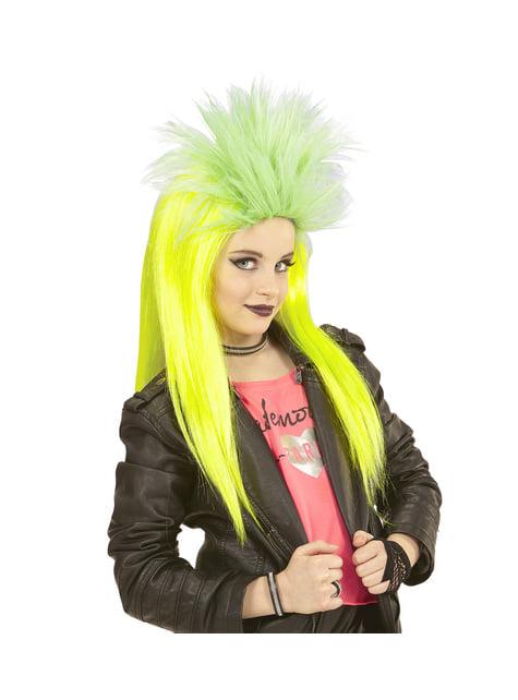 Peluca de punkarra amarilla fluorsecente para niña - para tu disfraz