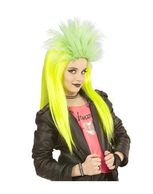 Peruca punky amarela fluorescente para menina