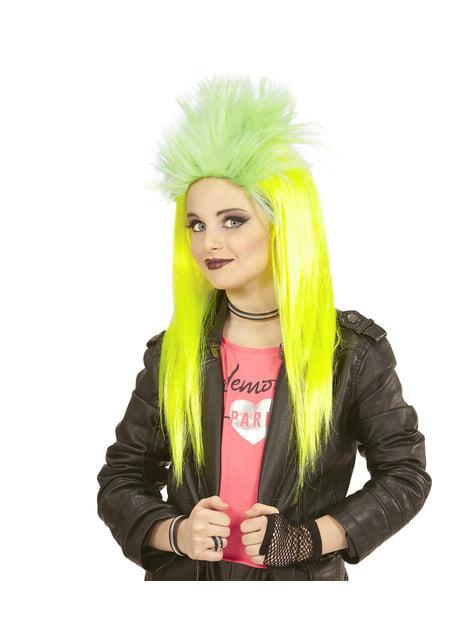 Peluca de punkarra amarilla fluorsecente para niña