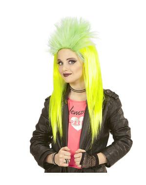 Peluca de punky amarilla fluorescente para niña