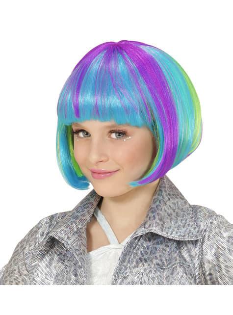 Peluca multicolor media melena para niña