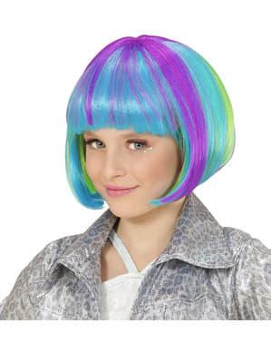 Halblange Perücke mehrfarbig für Mädchen