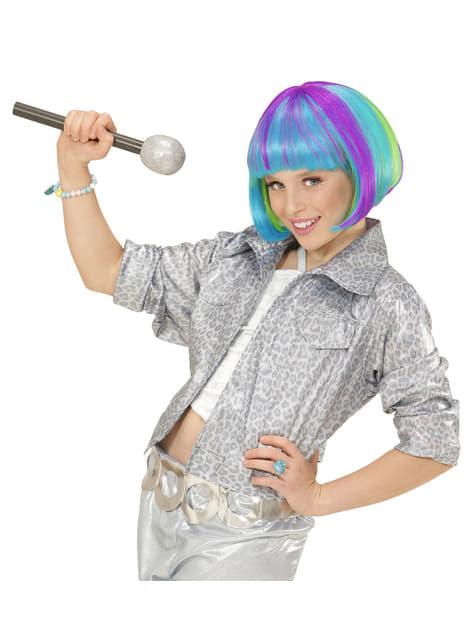 Peruca multicolor meia cabeleira para menina
