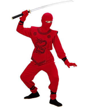 Rødt ninjakostume til drenge