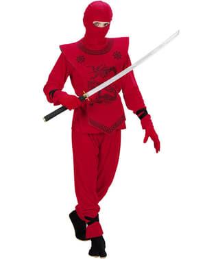 Drachen Ninja Kostüm rot für Jungen