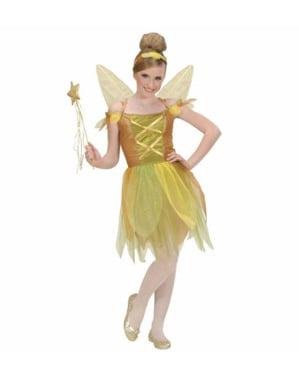 Costum de zână aurie a pădurii pentru fată