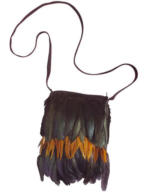 Bolsa de indio con plumas para adulto
