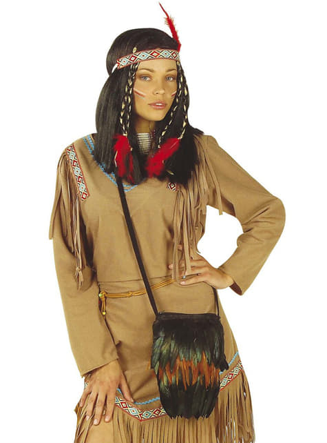 Bolsa de indio con plumas para adulto - para tu disfraz
