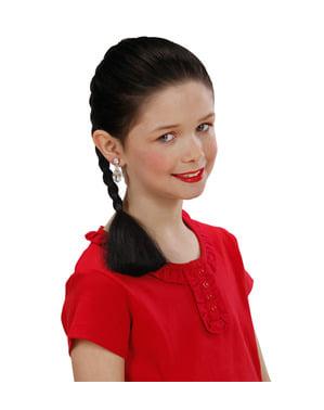 Extensie coadă împletită brunetă pentru fată