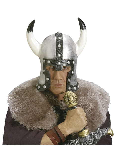 Casco de vikingo bárbaro para hombre