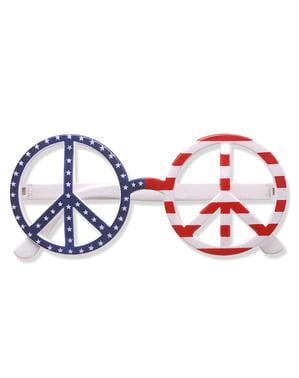 Óculos americanos paz e amor para adulto
