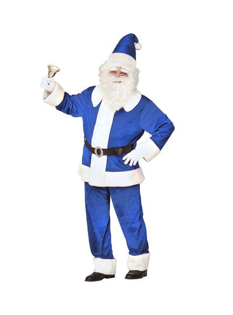 Disfraz de Papá Noel azul tradicional para hombre