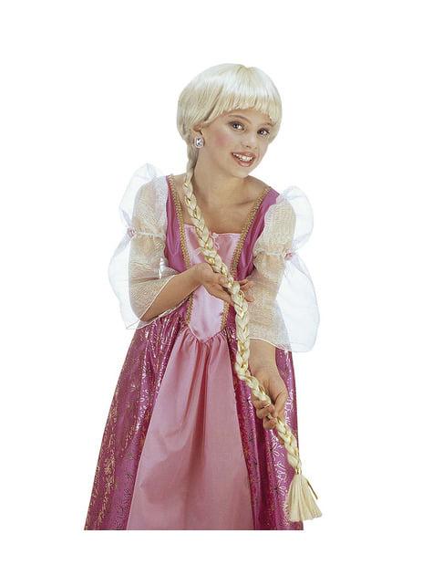 Peluca de princesa de larga melena para niña