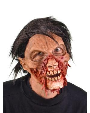 Máscara de zombie desgarrado moving mouth para adulto