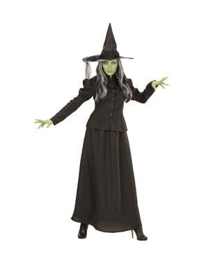 Fato de bruxa verde malvada tamanho grande para mulher