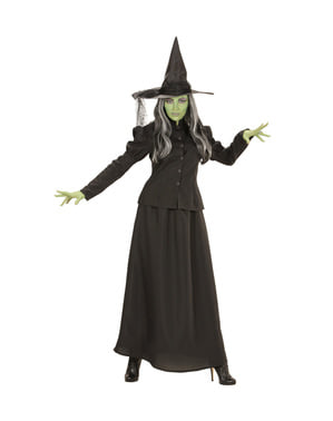 Жіночий плюс розмір злий зелений відьма костюм