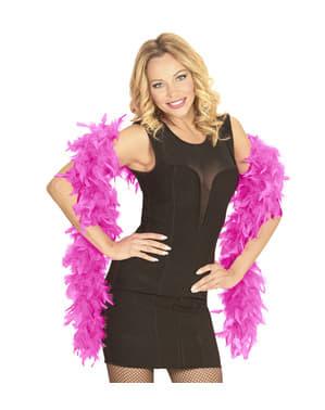 蛍光ピンクの羽毛製の襟巻