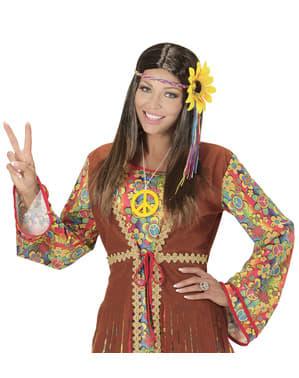Zonnebloem hippie pruik voor vrouw