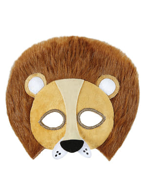 Masque lion en peluche adulte