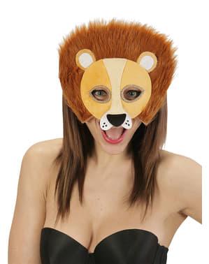 Máscara de leão de peluche para adulto