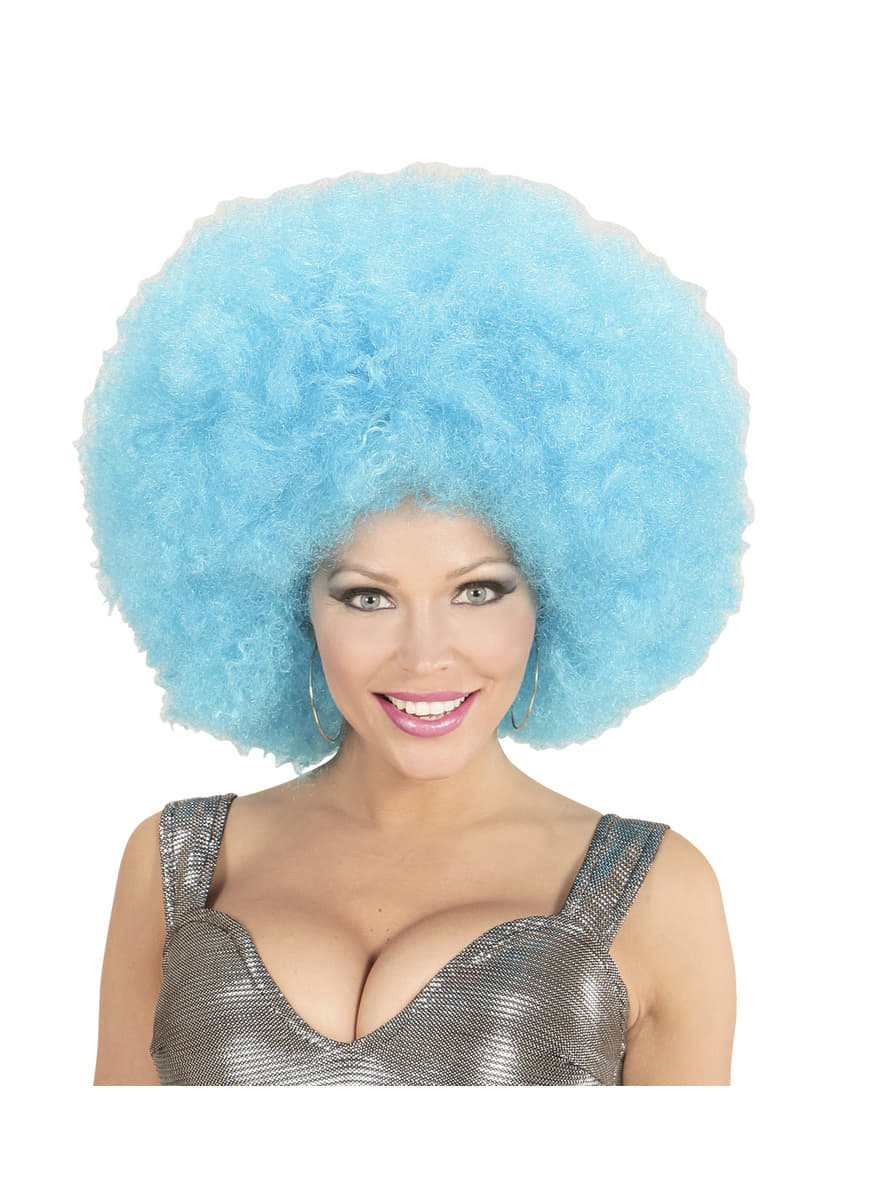 Adult S Giant Blue Afro Wig