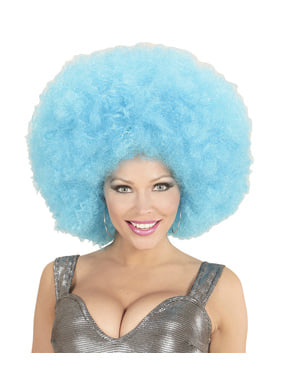 Adult's Giant Blue Afro Wig