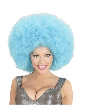 Perucă afro albastră gigantă pentru adult