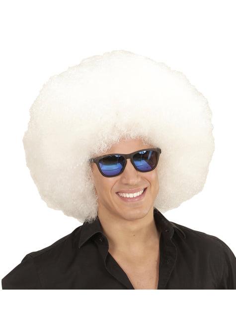 Γιγαντιαία λευκή περούκα Afro για ενήλικες