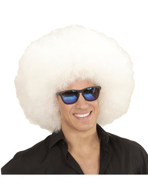 Perucă afro albă gigantă pentru adult