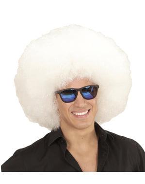 Peruk Afro vit gigantisk för vuxen