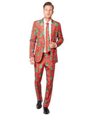 Κόκκινο Κοστούμι με Χριστουγεννιάτικα Δέντρα - Suitmeister