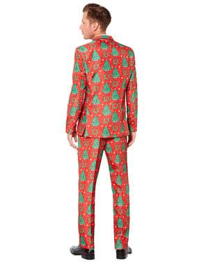 Červený oblek s vianočnými stromčekmi - Suitmeister