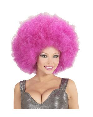 Peruk Afro lila gigantisk för vuxen