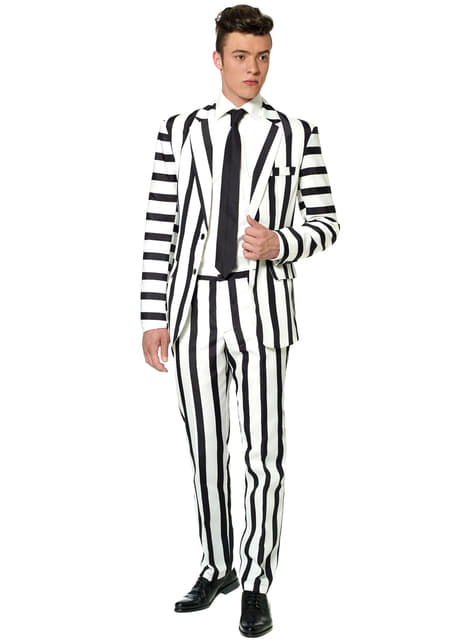 White and Black stripes Suit - Suitmeister
