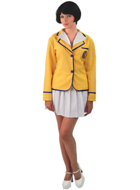 Disfraz de campista feliz amarillo para mujer