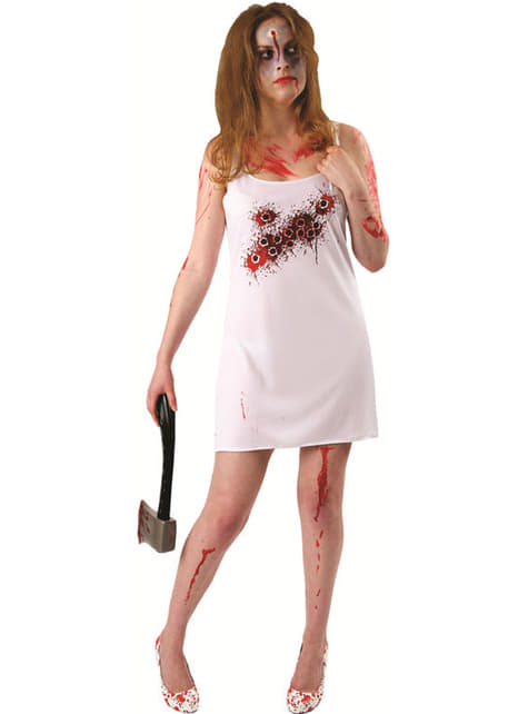 Vestido crivado de tiros para mulher