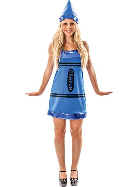 Blauw waskrijtje kostuum voor vrouw