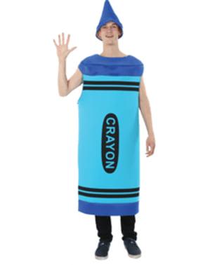 Wachsmalstift Kostüm blau für Herren