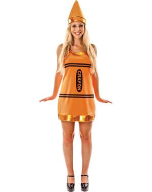 Costume da pastello a cera arancione per donna