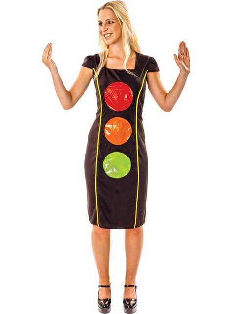 Disfraz de semáforo brillante para mujer