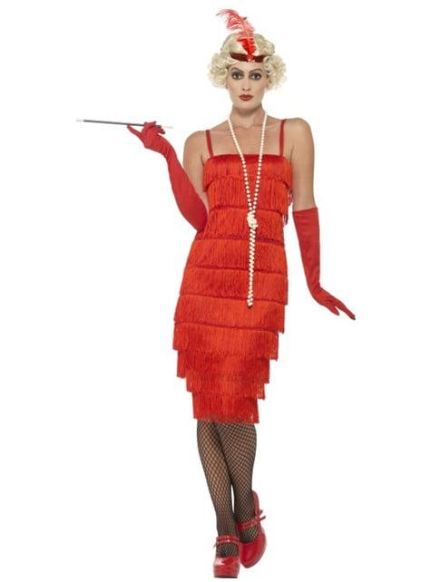 20er Jahre Kostüm rot für Damen