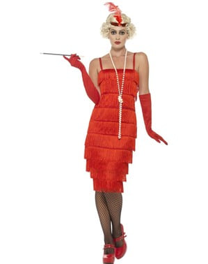 Fato de senhorita de vermelho dos anos 20 para mulher
