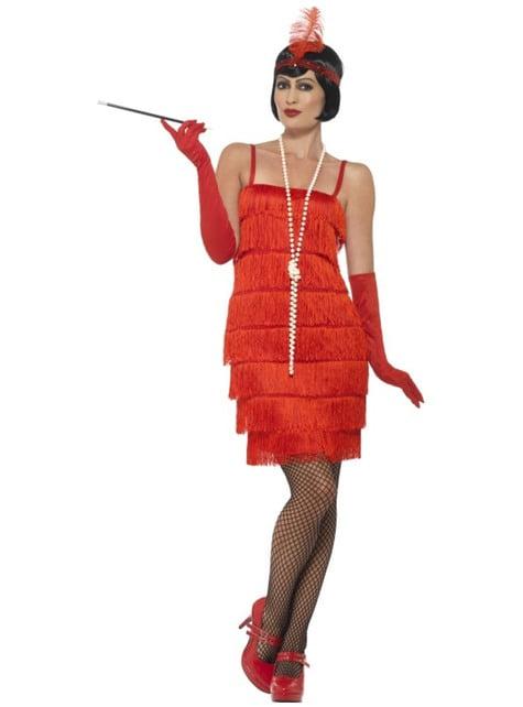 Fato de dama de vermelho dos anos 20 para mulher