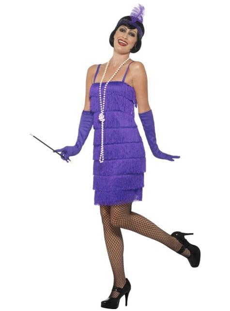 Disfraz de charletón años 20 violeta