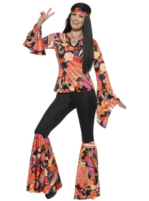 60 S Costume CANTANTE Hippie Hippy Adulto Donna Costume Vestito