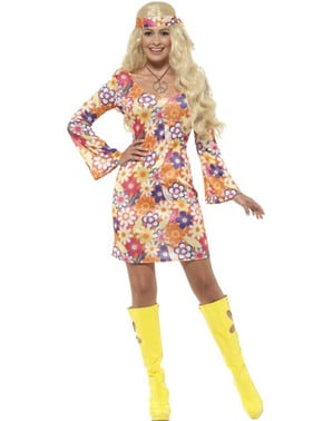Disfraz de hippie floreada para mujer