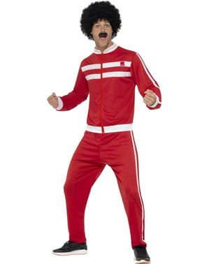 Rød 80-talls Kostyme til Menn