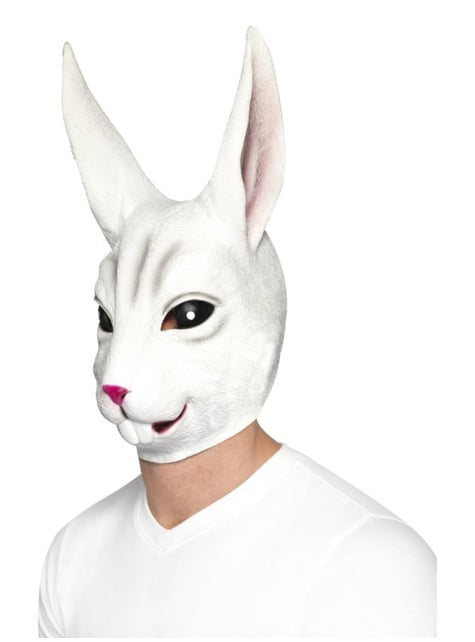 Máscara de conejo blanco de látex para adulto