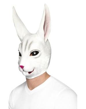 Mască de iepure alb de latex pentru adult