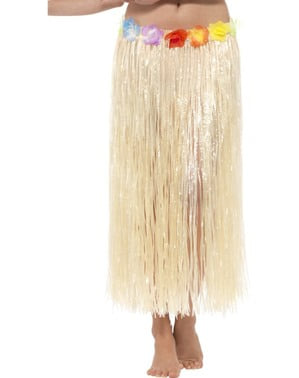 Adult's Hawaiian Hula Skirt with Flowers